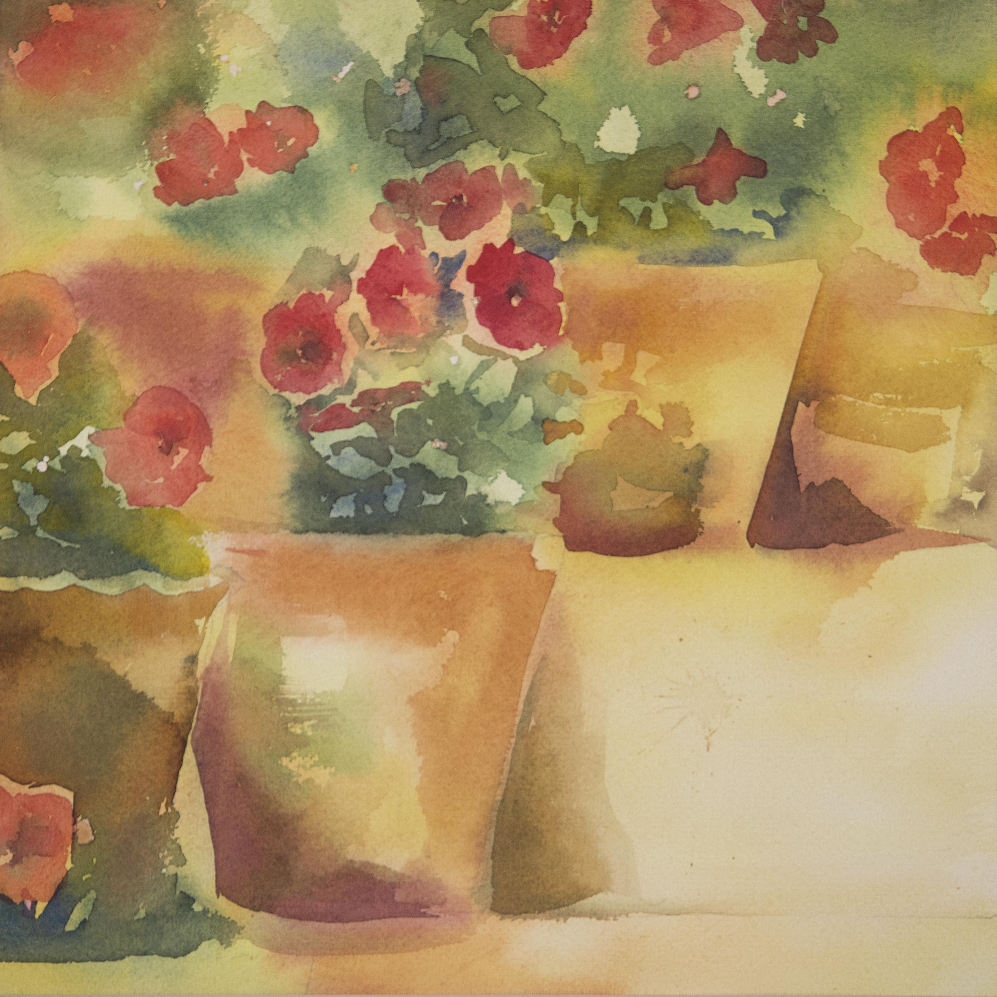 نقاشی آبرنگ گلدان های شعمدانی